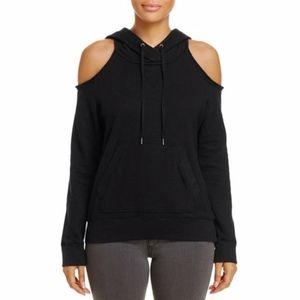 Splendid Cold Shoulder Hoodie Sweatshirt Black M